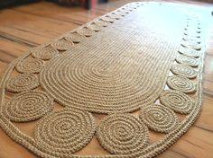 9 x 3 ft Unique decorative jute rug oval Crochet / by GreatHome, $373.00