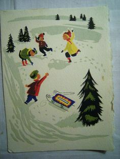 1940's Vintage Merry Xmas Greeting Card Mid Century Graphic Kids Snowball Fight | eBay