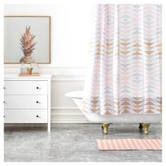 Georgiana Paraschiv Metallic Triangles Shower Curtain Gold - DENY Designs. Image 1 of 2.
