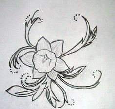 Embroidery daffodil pattern art daffodil tattoo, tattoos и b Birth Flower Tattoos, Flower Tattoo Back, Flower Tattoo Designs, Butterfly Tattoos, Time Tattoos, Sleeve Tattoos, Candle Tattoo, Daffodil Tattoo, Wedding Henna