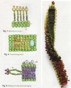 "Requires a base of ""square weaving"", linked to in the instructions. This is a useful stitch for other projects, too. Beading Patterns Free, Beading Tutorials, Jewelry Patterns, Bead Embroidered Bracelet, Embroidery Jewelry, Handmade Bracelets, Beaded Bracelets, Beads Jewelry, Bead Loom Designs"