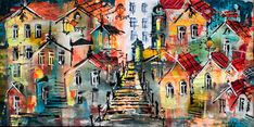 Lisbon, House Colors, Original Art, Elephant, Paintings, The Originals, Abstract, Canvas, Gallery