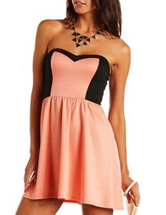 Color Block Sweetheart Tube Dress: Charlotte Russe