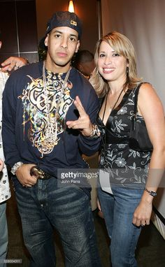 Daddy Yankee and guest Backstage) during 2005 Premios Juventud Awards - Pressroom and Backstage at University of Miami Convocation Center in Miami, Florida, United States.
