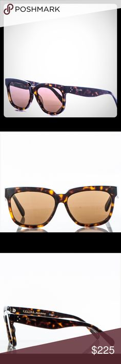 🌞 Authentic Celine CL Sunglasses 🕶 Authentic Celine Sunglasses Reference #41060F/S   Square oversized frame Brown shaded Lenses Acetate frame Protects from UVA and UVB  Measurements:  Length: 5.50 in Height: 2 in  These stylish sunglasses have a classic chunky tortoise shell frame and dark brown tinted lenses. Three silver dots accent the temple of these stylish sunglasses with a distinctive look, from Celine!  Only lightly used & ready for purchase. Don't like the price? make me an…