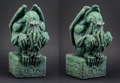 Repainted Cthulhu statue from 'The Ancient One Tribute Box' The Ancient One, Cthulhu, Lion Sculpture, Miniatures, Statue, Box, Boxes, Mockup, Sculpture