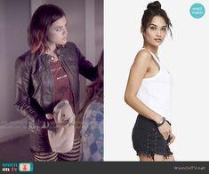 Aria's black lace up denim shorts on Pretty Little Liars.  Outfit Details: http://wornontv.net/49481/ #PLL