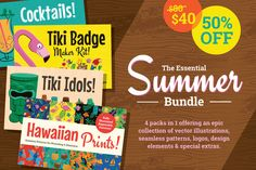 The Essential Summer Bundle collects all 4 of my Hawaiian and Tiki graphics packs in to 1 amazing product. Featuring seamless Hawaiian prints for Photoshop and Illustrator, tiki style logo templates, cocktail illustrations and more, this is everything you need to create those awesome holiday themed designs.