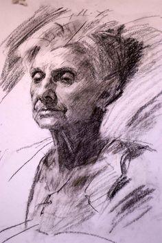 Robert Hannaford (1944 - ) | Aunty-Joan-charcoal-2011