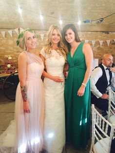 My wedding guests #blushbridesmaids #flowercrown #wedderburnbarns #bunting #lace