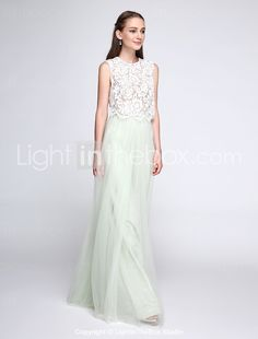 Lanting Bride® Floor-length Lace / Tulle Bridesmaid Dress - Two Pieces Sheath / Column Jewel with Lace 4915293 2016 – $99.99