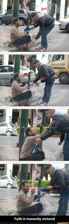 Faith in humanity restored, hipster guys, homeless man, amazing people, goo