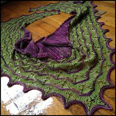 sarahtomics Martinmas Vert  Shawl by Sarah Burghardt. malabrigo Sock, Lettuce and Rayon Vert colors