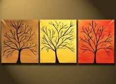 """SALE PAINTINGS - Abstract Modern Tree Painting 48x20 Original Modern Contemporary Art on Canvas by Orit Baron """"Trees of Fame"""" ON SALsE"""