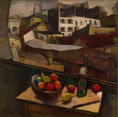 Knife and Fruit in Front of The Window, 1917 Oil on canvas