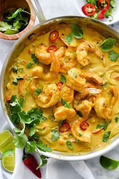 """Shrimp In Thai Coconut Sauce - """"Coconut milk flavored with peanut butter makes a classic Thai-inspired, creamy sauce for bell peppers and sautéed shrimp for an easy dinner any night of the week. Fish Recipes, Seafood Recipes, Dinner Recipes, Cooking Recipes, Healthy Recipes, Healthy Thai Food, Thai Prawn Recipes, Thai Food Recipes Easy, Easy Asian Recipes"""