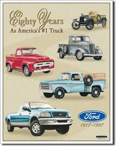 Ford Tin Sign Trucks 80 YR Tribute Vintage Sign Reproduction - In 1900 Henry Ford builds his third vehicle – a truck. In 1917 Ford introduces the Model T One-Ton truck chassis, its first chassis spe