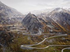 An aerial photograph of the Gotthard Pass, which is on the cycling route of the Tour de Suisse. This image shot by Michael Blann is featured in his new book that documents some of the most scenic cycling climbs in the world.