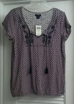 NWT LUCKY BRAND Floral Blouse Embroidered Tassles Boho Hippie Shirt Top Cotton L