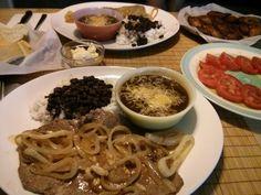 Palomilla Steak w/ Garlic & Onions, White Rice w/ Black Beans, Black Bean Soup, Platanos, Tomatoes w/ Olive Oil & Balsamic Vinegar, Cuban Bread w/ Butter #allkindsofrecipes