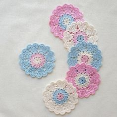 Set of 6 crochet coasters heart mandala coasters aqua pink