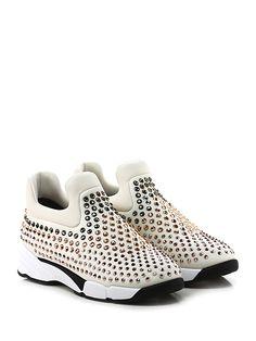 Pinko - Sneakers - Donna - Sneaker in tessuto tecnico elasticizzato con multi strass su tomaia e suola in gomma. Tacco 45, platform 25 con battuta 20. - AVORIO - € 298.00