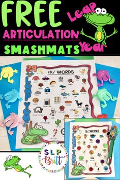 LEAP YEAR (FROG) ACTIVITY MATS,  ARTICULATION. Use this speech therapy activity as a game companion to any frog game or as a smash/activity mat activity. Please click on this pin for a full description and preview in my TPT store.#speechtherapy #speechtherapyactivities #languagetherapy #teacherspayteachers #slpbritt #slpsontpt #articulation #speechandlanguagetherapy Frog Activities, Articulation Activities, Speech Therapy Activities, Shape Activities, Articulation Therapy, Animal Activities, Music Activities, Preschool Speech Therapy, Speech Language Therapy