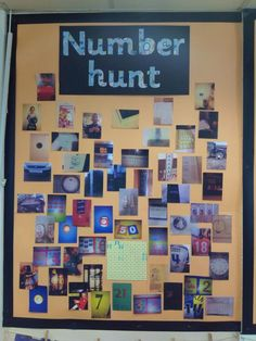number hunt - encourage kinder students and families to look for numbers at home and in the community, send in pictures/documentation for a cute display Maths Eyfs, Numeracy Activities, Eyfs Classroom, Preschool Math, Kindergarten Math, Teaching Math, Primary Classroom Displays, Year 1 Classroom, Kindergarten Calendar