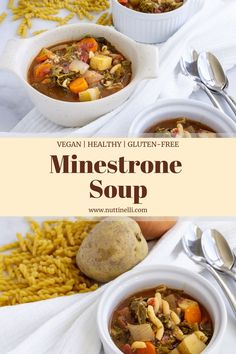 This minestrone soup recipe is super easy, healthy, quick, simple, and vegan! It is the perfect soup for a winter day to cozy up with in front of the TV. Easy Vegan Soup, Easy Vegan Lunch, Quick Vegan Meals, Vegan Lunch Recipes, Vegan Soups, Vegan Dinners, Quick Recipes, Easy Dinner Recipes, Cooking Recipes