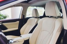 interior of prestige modern car. front seats with steering wheel dashboard. beige cockpit with metal decoration panoramic roof on isolated white background. Custom Car Seat Covers, Leather Car Seat Covers, Leather Cover, Woman In Car, Car Seat Protector, Car Floor Mats, Workout Accessories, Beige, Interior