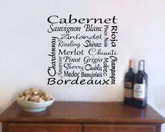 Wine Wall Art Wine Decal  Wine Names Bar by RoyceLaneCreations, $18.00