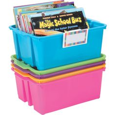 Classroom Stacking Bins With Universal Label Holders 5 Pack Neon