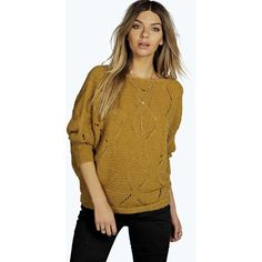 Boohoo Clare Batwing Knitted Jumper ($35) ❤ liked on Polyvore featuring tops, sweaters, mustard, layered crop top, jumpers sweaters, mustard yellow top, brown tops and brown sweater