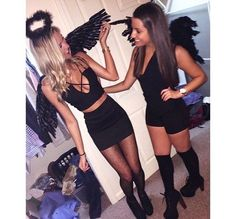 college halloween costumes halloween costumes 32 Easy Costumes to Copy That Are Perfect for the College Halloween Party - By Sophia Lee Easy College Halloween Costumes, Best Friend Halloween Costumes, Easy Costumes, Couple Halloween, Girl Halloween, Angel Costumes, Black Halloween Costumes, Fallen Angel Halloween Costume, Angel Halloween Makeup