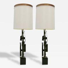 Harry Balmer - Pair of Brutalist Torch Cut Table Lamps by Harry Balmer for Laurel Brutalist Furniture, Brutalist Design, Le Corbusier, Lamp Design, Table Lamps, Concrete, Architecture, Lighting, Home Decor