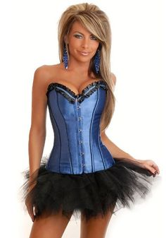 a8f8b0093 Free Shipping Clearance Plus size Sexy Women Lady Light Blue Overbust  Corset Bustier Lingerie with G-String without skrit