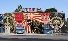 Street Art by Shepard Fairey on Melrose Ave in Los Angeles California Murals Street Art, Street Art Graffiti, Mural Art, Wall Mural, Art Obey, Shepard Fairey Obey, Urbane Kunst, Urban Street Art, Amazing Street Art