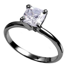 3.00 Carat Princess Cut Square Diamond Russian CZ Black Gold 925 Sterling Silver Solitaire Wedding Engagement Anniversary Ring