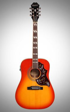 Epiphone Hummingbird PRO Acoustic-Electric Guitar - Whether you play country or classic rock, acoustic guitars don't get much more iconic than the Hummingbird. This Epiphone PRO boasts a Shadow pickup system.