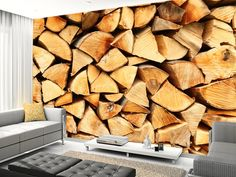 7bfe16c5c4c25a Pile of Split Wood wall mural living room preview Holz Hintergrundbild