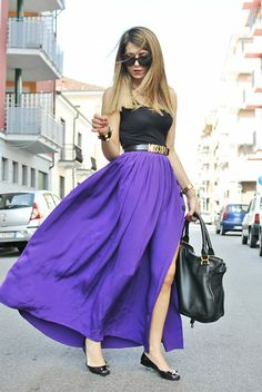 Moschino Belt, Chloè Bag and that vibrant long flowing purple skirt.*