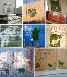 Fantastisch!!  Eco-Graffiti: Maak verf van een mos met yoghurt mengsel, schilder dit op een ruwe ondergrond (onbehandeld hout) ....regelmatig sproeien, en hopla.