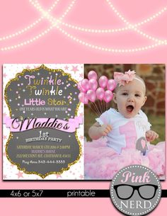 Twinkle Little Star Invitation First By PinkNerdPrintables