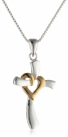 Two-Toned Sterling Silver with Yellow Gold Flashed Heart Centered Cross Pendant Necklace, 18""