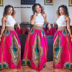 Pink Dashiki Maxi Skirt by THEAFRICANSHOP on Etsy, £45.00