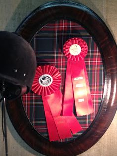 Leather-covered plaid bulletin board ~ a classy way to display equestrian ribbons