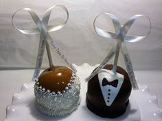 Bride and groom candy apples