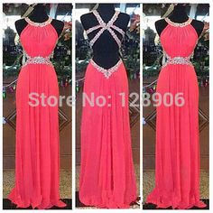 Sexy Chiffon Prom Dress 2015 Halter Beaded Sequins Long Prom Dress to Party Court Train Criss Back Prom Party Gowns