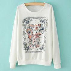 Casual Style Scoop Neck Elastic Elephant Print Long Sleeve T-Shirt #SammyDress <3