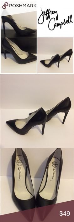 Jeffrey Campbell Pointed Toe Stiletto Heels For sale: Jeffrey Campbell Black Leather Pointed Toe Classic Stiletto Heels/Pumps. Excellent Pre-Owned Condition. Clean inner and outer soles. Interested? Like, share, bundle, buy! Jeffrey Campbell Shoes Heels